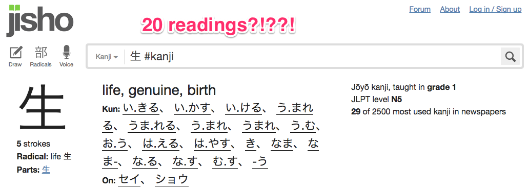 too many readings for this kanji!